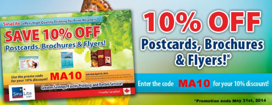 Save 10% on Postcards, Flyers & Brochures for All of MAY!